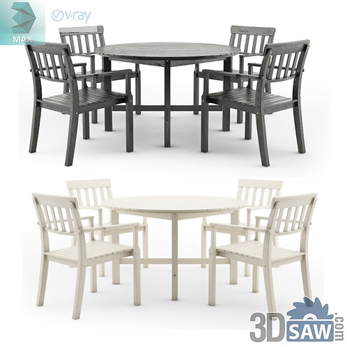 3ds Max Table And Chairs Model - 3d Model Free Download - MX-1141