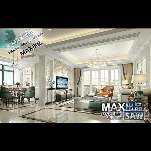 3d Model Interior Free Download - 3ds Max Living Room Decor - MX-1011