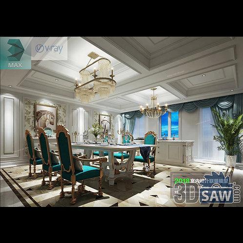 3d Model Interior Free Download - 3ds Max Dining Room Decor - MX-869