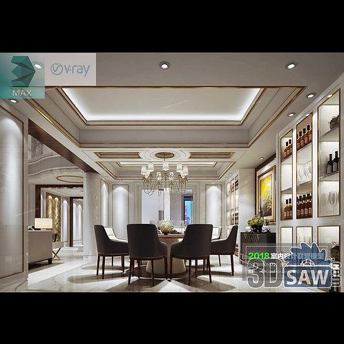 3d Model Interior Free Download - 3ds Max Dining Room Decor - MX-879