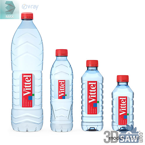 3ds Max Plastic Water Bottle  - Kitchen Items - 3d Model Free Download