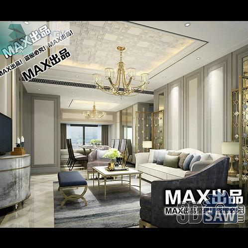 3d Model Interior Free Download - 3ds Max Living Room Decor - MX-1026