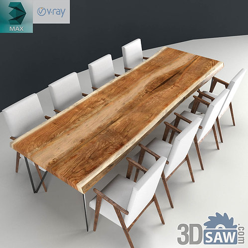 Wooden Table Slab And Chairs Set - MX-0000191