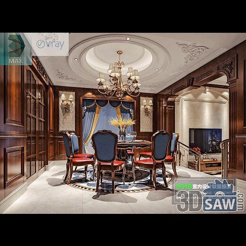 3d Model Interior Free Download - 3ds Max Dining Room Decor - MX-878