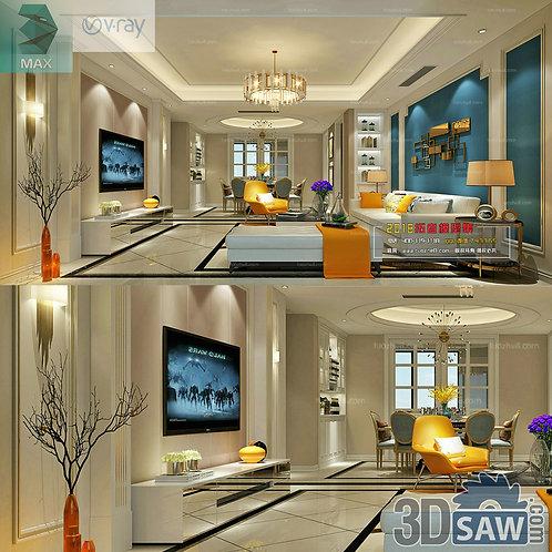 3d Model Interior Free Download - 3ds Max Living Room Decor - MX-1016