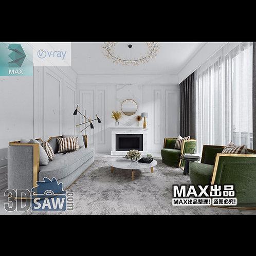 3d Model Interior Free Download - 3ds Max Living Room Decor - MX-1040