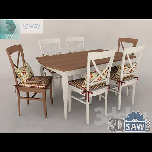 3ds Max Table And Chairs Model - 3d Model Free Download - MX-1088