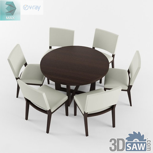 3ds Max Table And Chairs Model - 3d Model Free Download - MX-1082