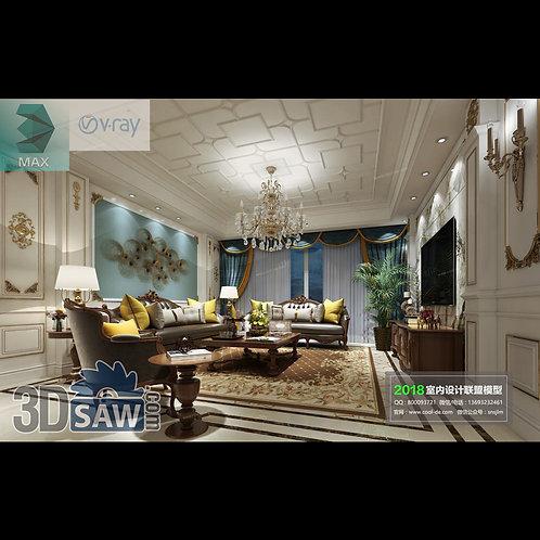 3d Model Interior Free Download - 3ds Max Living Room Decor - MX-1057