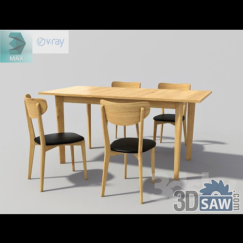 3ds Max Table And Chairs Model - 3d Model Free Download - MX-996