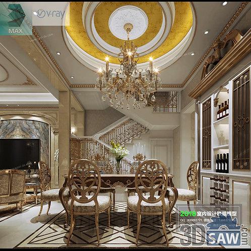 3d Model Interior Free Download - 3ds Max Dining Room Decor - MX-868