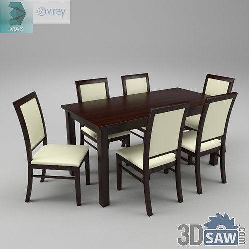 3ds Max Table And Chairs Model - 3d Model Free Download - MX-971