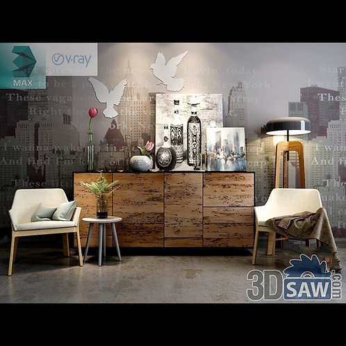 3d Model Free Download - Buffet Table Decor - Sideboard Table Set