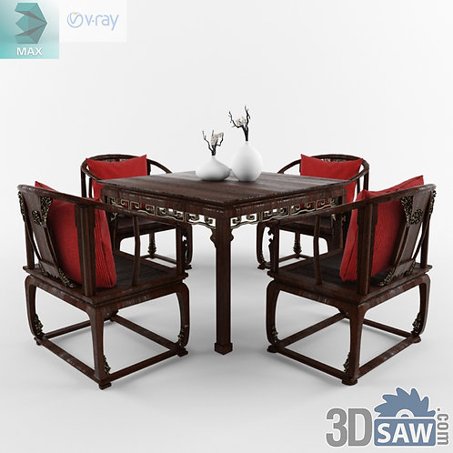 3ds Max Table And Chairs Model - 3d Model Free Download - MX-1119