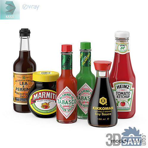 3ds Max Liquid Spices  - Kitchen Items - 3d Model Free Download