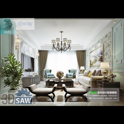 Model Interior Free Download - 3ds Max Living Room Decor - MX-1066