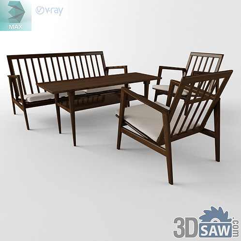 3ds Max Table And Chairs Model - 3d Model Free Download - MX-1146