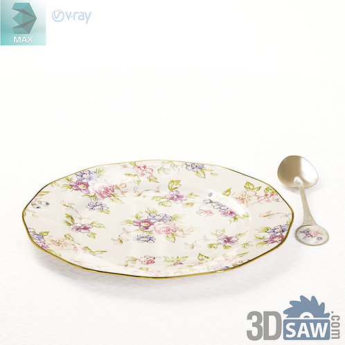 3ds Max Tableware Set - Dish And Spoon - Kitchen Items - 3d Model Free Download