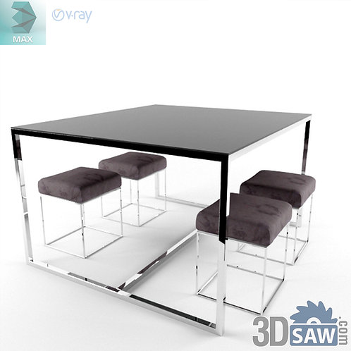3ds Max Table And Chairs Model - 3d Model Free Download - MX-1150
