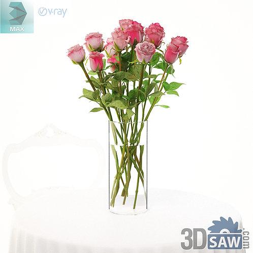 3ds Max Flower Vase - Rose - Tableware - 3d Model Free Download