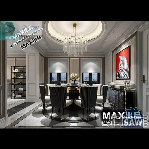 3d Model Interior Free Download - 3ds Max Dining Room Decor - MX-877
