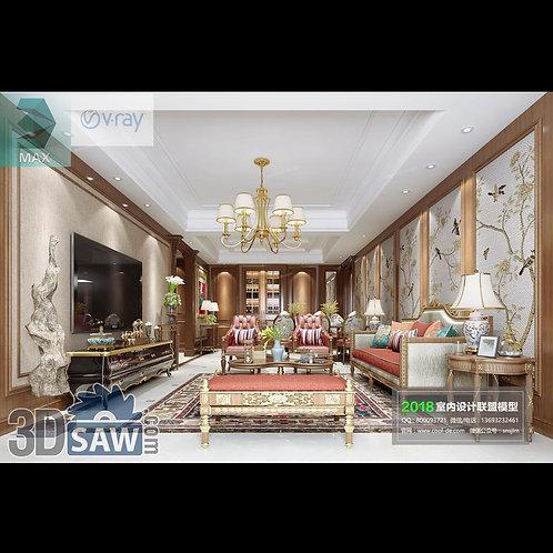 Model Interior Free Download - 3ds Max Living Room Decor - MX-1070