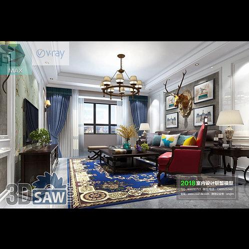 3d Model Interior Free Download - 3ds Max Living Room Decor - MX-1053