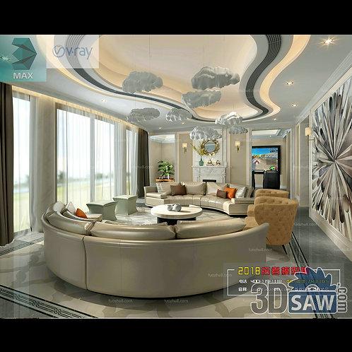 3d Model Interior Free Download - 3ds Max Living Room Decor - MX-1013