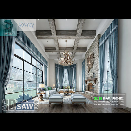 Model Interior Free Download - 3ds Max Living Room Decor - MX-1078