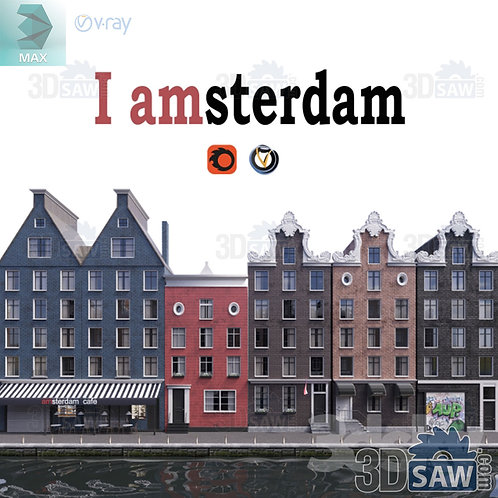 Facade Model - Exterior Amsterdam Netherlands Houses - MX-0000286