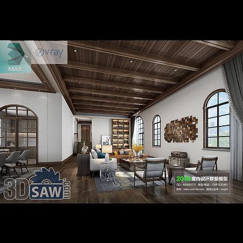 3d Model Interior Free Download - 3ds Max Living Room Decor - MX-1042