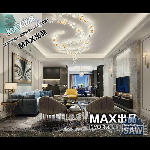 3d Model Interior Free Download - 3ds Max Living Room Decor - MX-1025