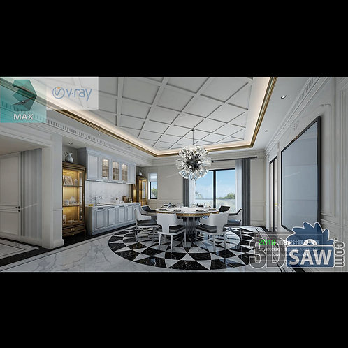 3d Model Interior Free Download - 3ds Max Dining Room Decor - MX-890