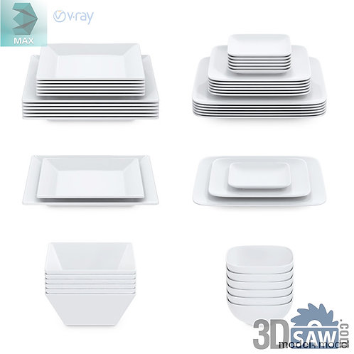 3ds Max Set Of White Dishes - Tableware - Kitchen Items - 3d Model Free Download