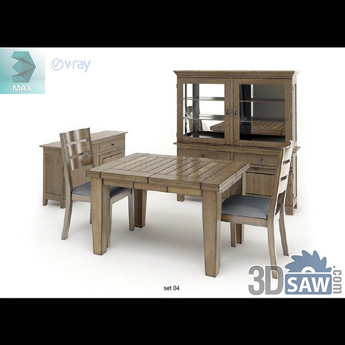 3ds Max Table And Chairs Model - 3d Model Free Download - MX-1103