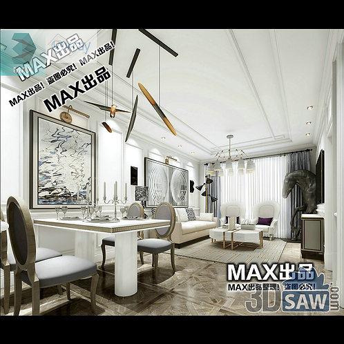 3d Model Interior Free Download - 3ds Max Living Room Decor - MX-1002