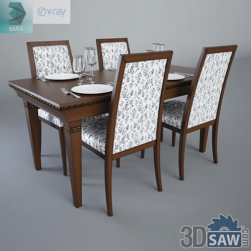 3ds Max Table And Chairs Model - 3d Model Free Download - MX-1109