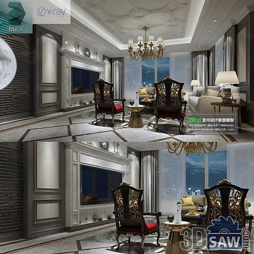 3d Model Interior Free Download - 3ds Max Living Room Decor - MX-1048