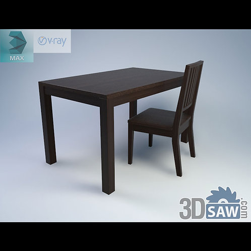 3ds Max Table And Chairs Model - 3d Model Free Download - MX-981