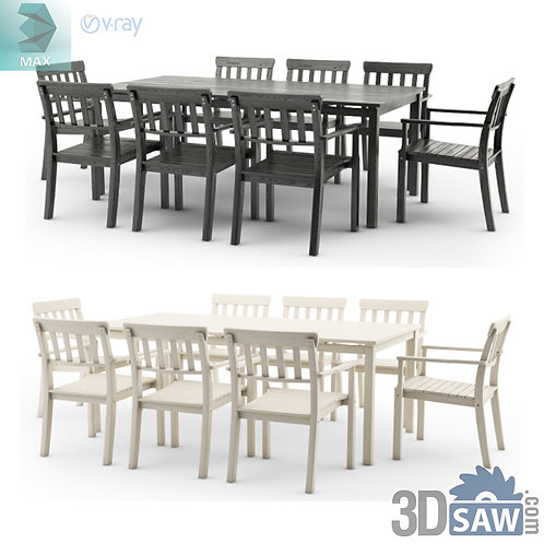 3ds Max Table And Chairs Model - 3d Model Free Download - MX-1139