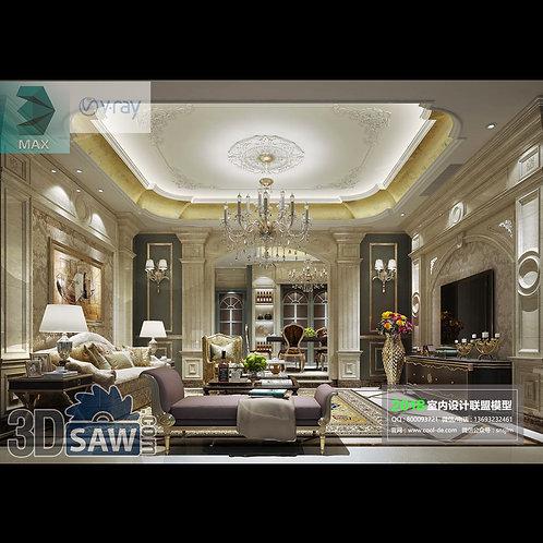 3d Model Interior Free Download - 3ds Max Living Room Decor - MX-1064