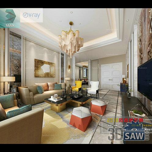 3d Model Interior Free Download - 3ds Max Living Room Decor - MX-1008