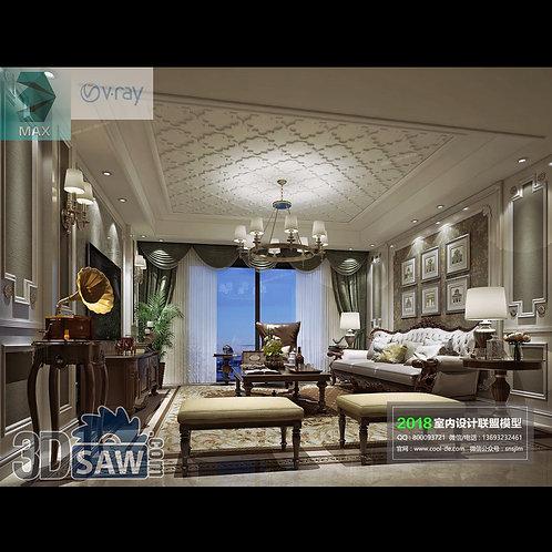 3d Model Interior Free Download - 3ds Max Living Room Decor - MX-1051