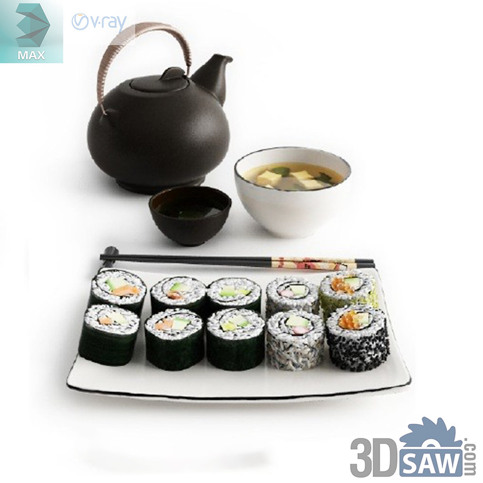 3ds Max Foods Sushi Kitchen Items 3d Model Free Download