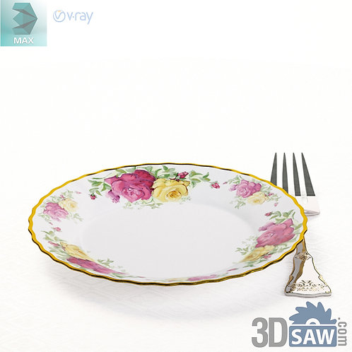 3ds Max Dish And Fork  - Kitchen Items - 3d Model Free Download