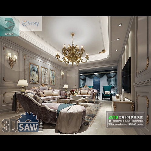 3d Model Interior Free Download - 3ds Max Living Room Decor - MX-1043