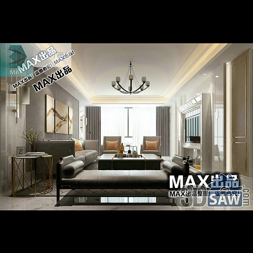 3d Model Interior Free Download - 3ds Max Living Room Decor - MX-1035
