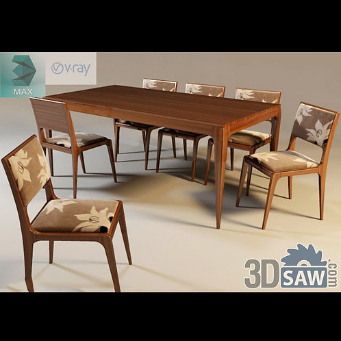 3ds Max Table And Chairs Model - 3d Model Free Download - MX-965