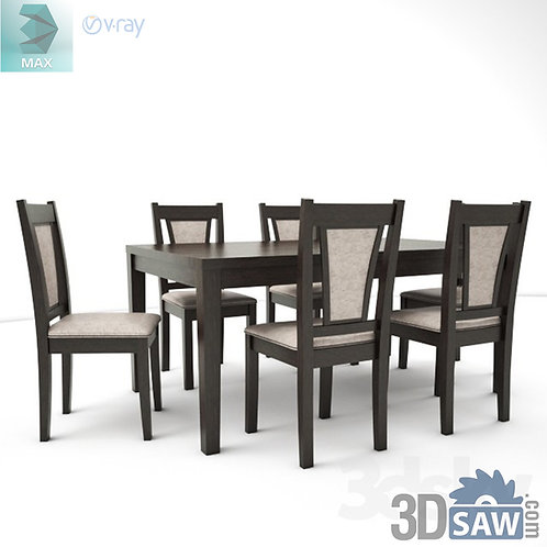 3ds Max Table And Chairs Model - 3d Model Free Download - MX-991