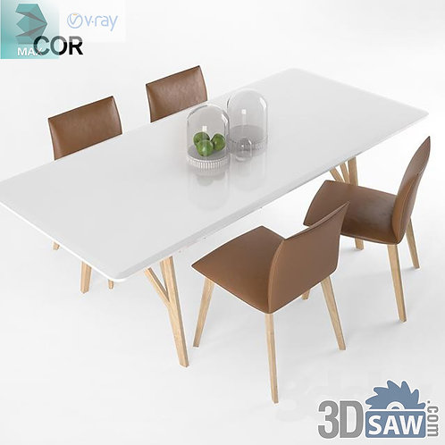 3ds Max Table And Chairs Model - 3d Model Free Download - MX-1091
